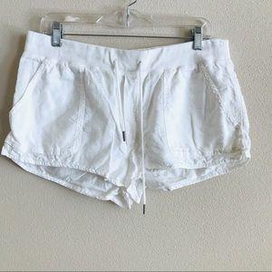 Aritzia Community White drawstring mini shorts